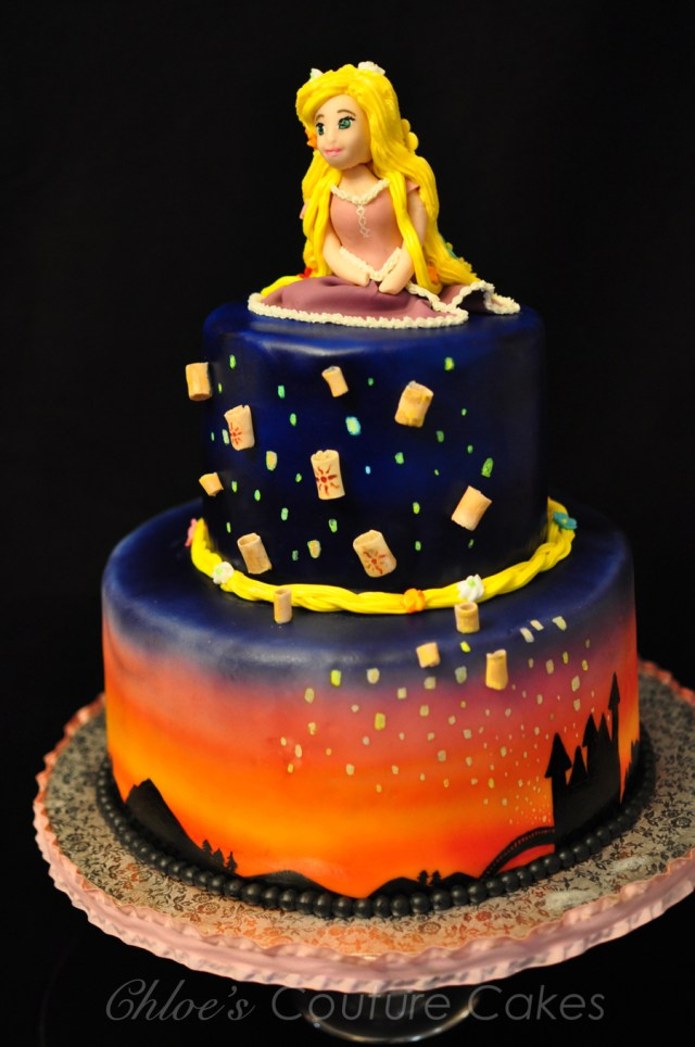 Rapunzel Birthday Cake Rapunzel Birthday Cake With Floating Lanterns Sunset Airbrushed On