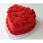 Red Birthday Cake Red Velvet Heart Shape Premium Quality 1 Kg Cake With Red Roses Topping