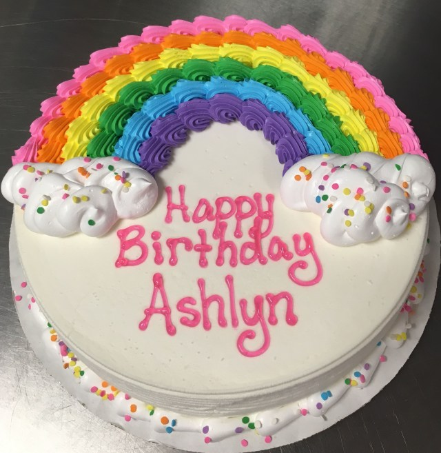Round Birthday Cakes Rainbow Dq Ice Cream Cake Cake Ideas Cake Birthday Cake Cake