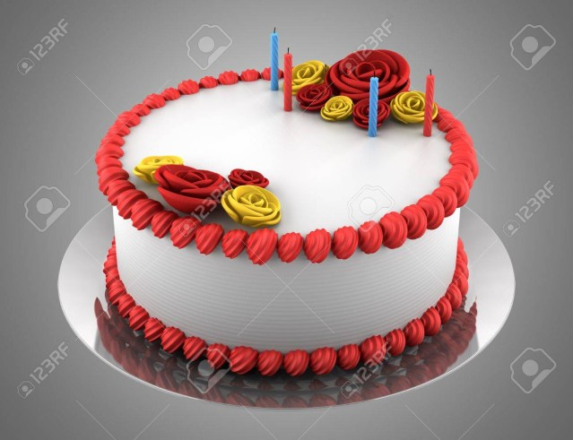 Round Birthday Cakes Round Birthday Cake With Candles Isolated On Gray Background Stock
