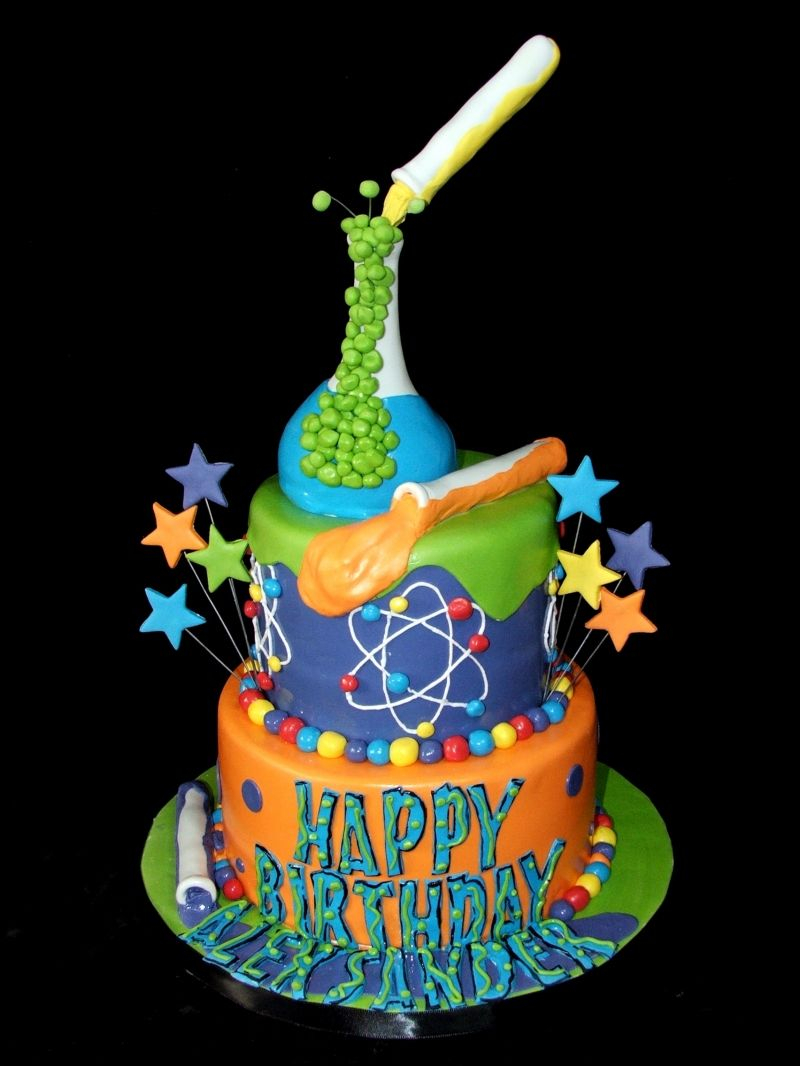 Science Birthday Cake Science Cake Very Cool I Love The Colors The Design Food