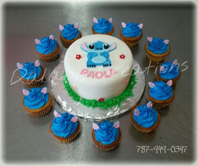 Stitch Birthday Cake Stich From Lilo And Stich Cake With Cupcakes Dalabu Creations