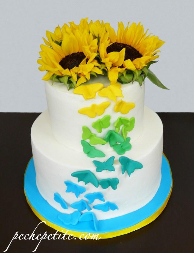Sunflower Birthday Cake Custom Butterfly Cakes Peche Petite