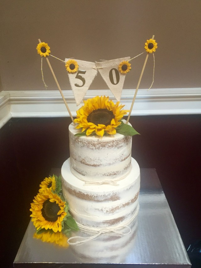 Sunflower Birthday Cake Semi Naked Cake W Sunflowers And 50th Birthday Banner Cake