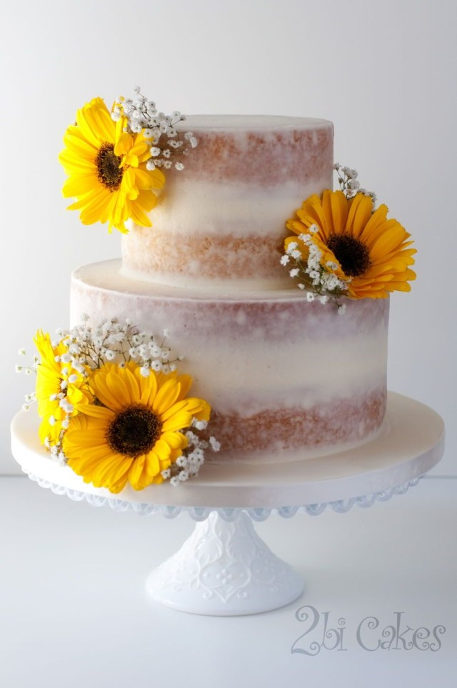 Sunflower Birthday Cake Sunflower Naked Cake On Cake Central Rustic Wedding Pinterest