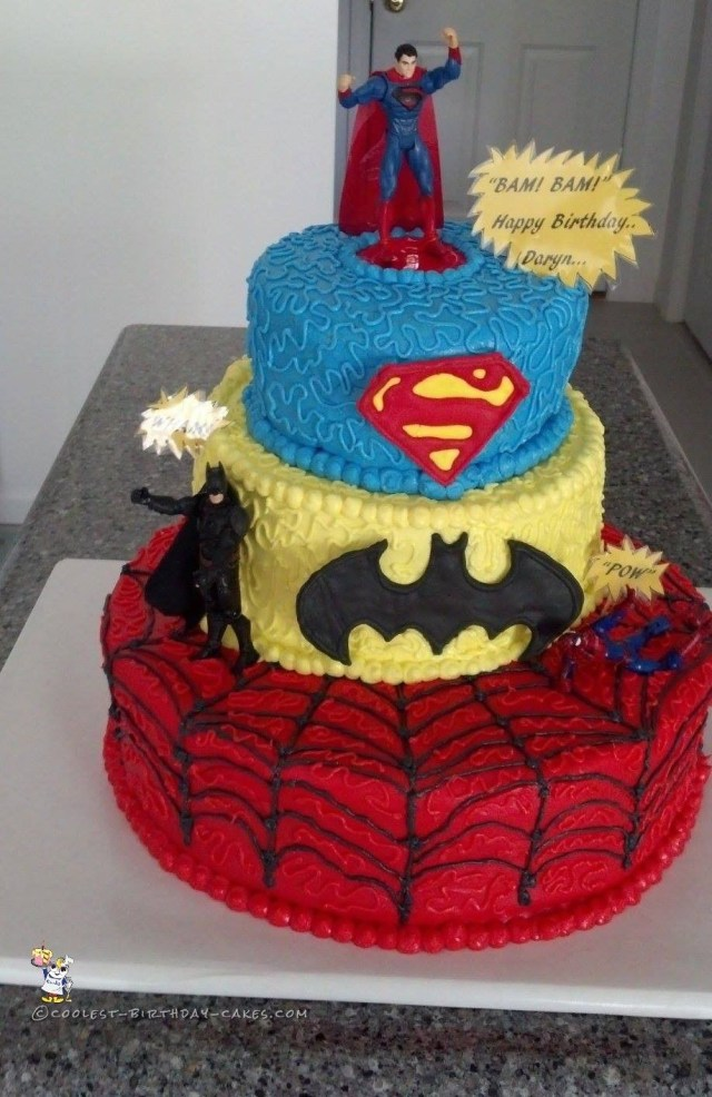 Superhero Birthday Cake Cool 3 Tier Superhero Birthday Cake Coolest Birthday Cakes