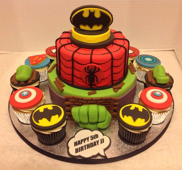 Superhero Birthday Cake Superhero Birthday Cake Cupcakes Liz Flickr