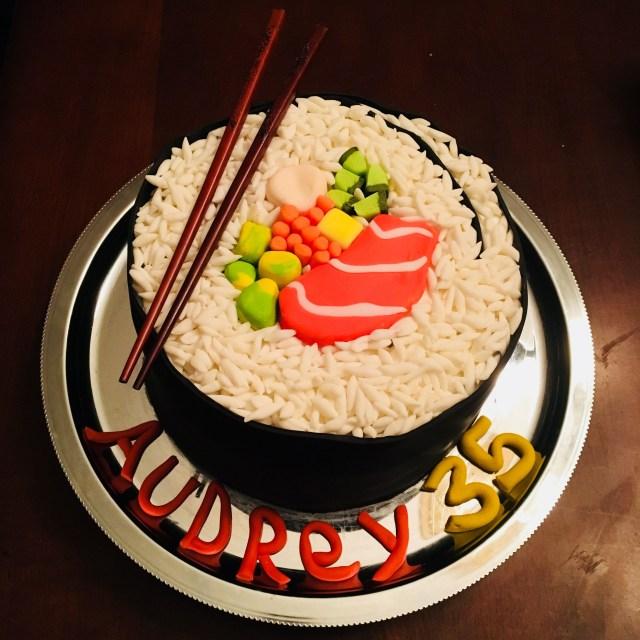 Sushi Birthday Cake Fondant Birthday Cake Maki Sushi Roll With Rice Avocado Omelet