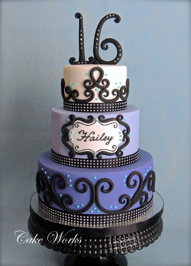 Sweet 16 Birthday Cake Sweet 16 Bling 16th Birthday Cake In Fondant The Birthday Girl