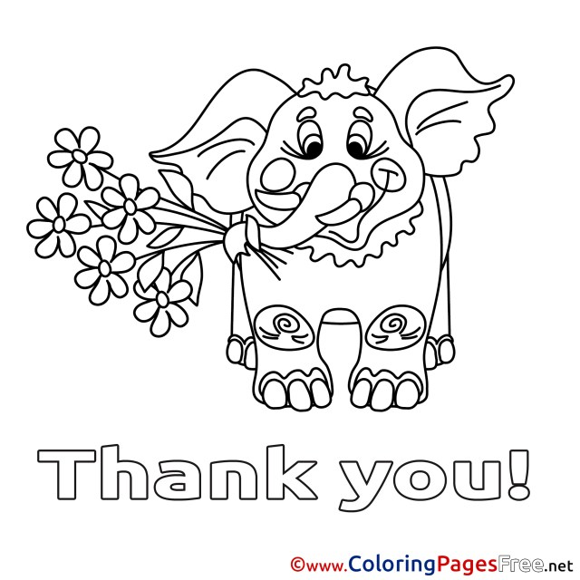 Thank You Coloring Pages Elephant Thank You Coloring Pages Free