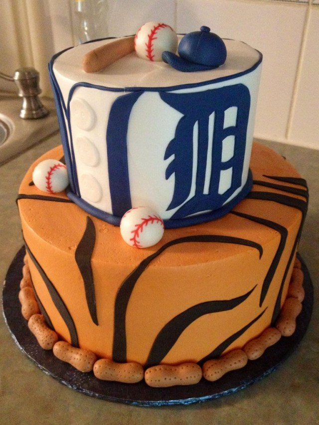 Tiger Birthday Cake Lets Be Candid Grace Ful Cakes Detroit Tigers Cake Detroit