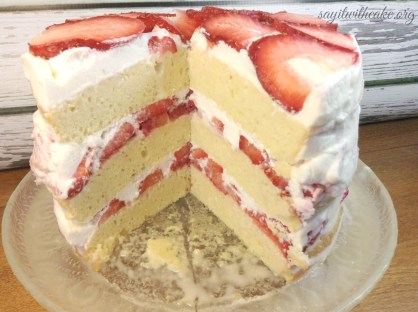 Tres Leches Birthday Cake Layered Tres Leche Cake With Strawberries Say It With Cake