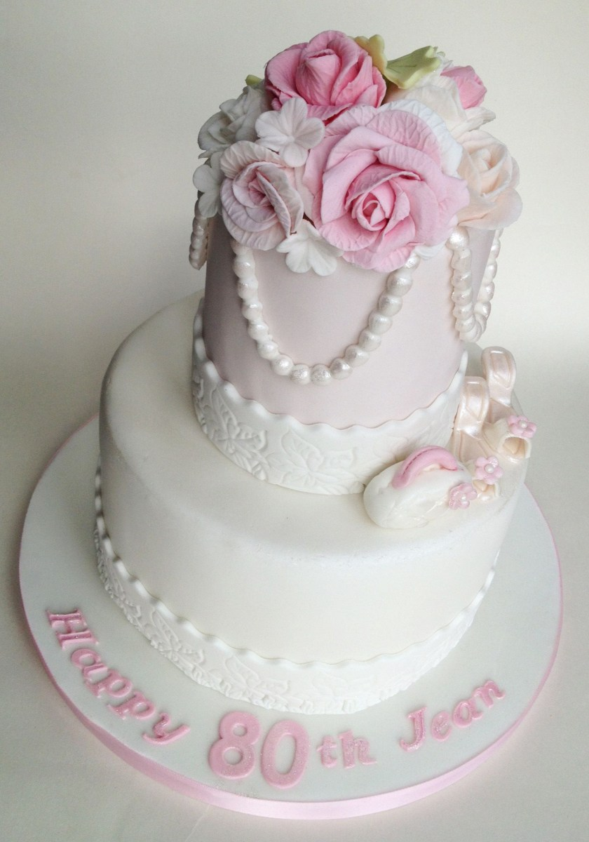 Two Tier Birthday Cake 80th 2 Party Pinterest