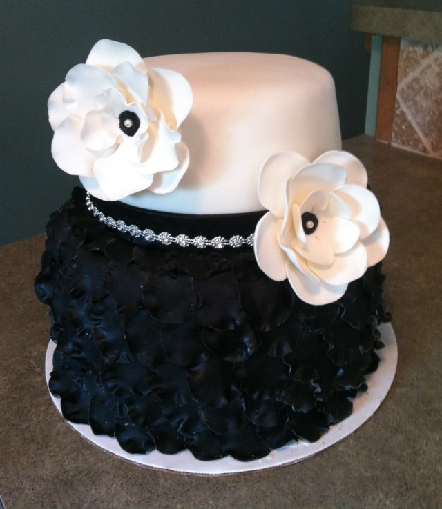 Two Tier Birthday Cake Black And White Birthday Cake 2 Tier Petal Cake Cakecentral