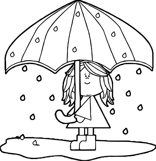 Umbrella Coloring Page April Shower Girl Umbrella Coloring Page Wecoloringpage