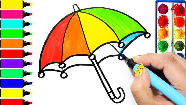 Umbrella Coloring Page Rainbow Umbrella Coloring Page Learn Colors For Girls And Kids