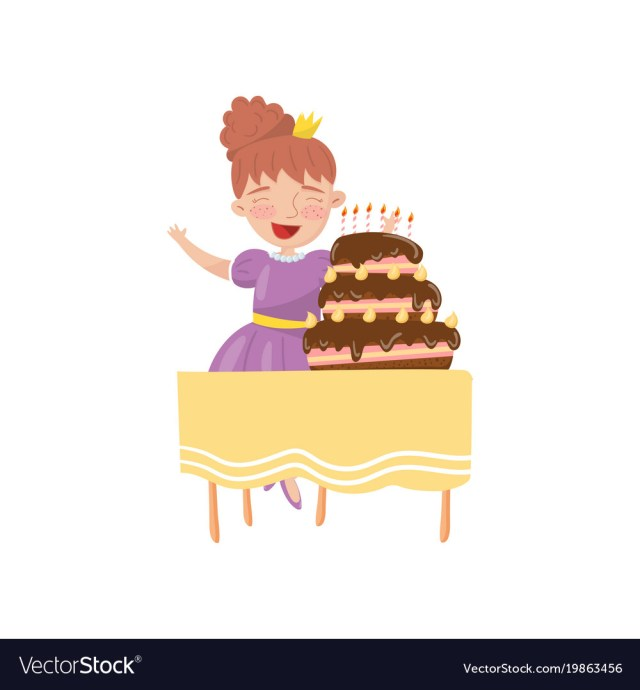 Woman Birthday Cake Happy Young Woman With Birthday Cake Cartoon Vector Image
