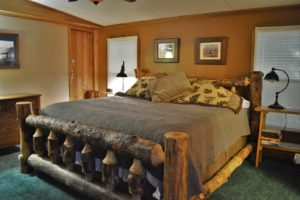 Tennessee cabin log master bed