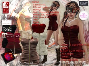 ShuShu CHRISTMAS EVE outfit - dress - boots - jewels - hair - mask - cloak