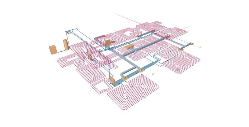 Detalle de las instalaciones interiores de suelo radiante y fancoil