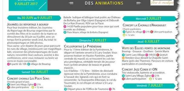 Programa de animación St.Lary Soulan 1 al 9 de Julio