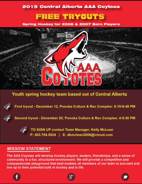 A hockey tryout poster created for the AAA-Coyotes hockey team by The Alberta Writer in Red Deer, Alberta