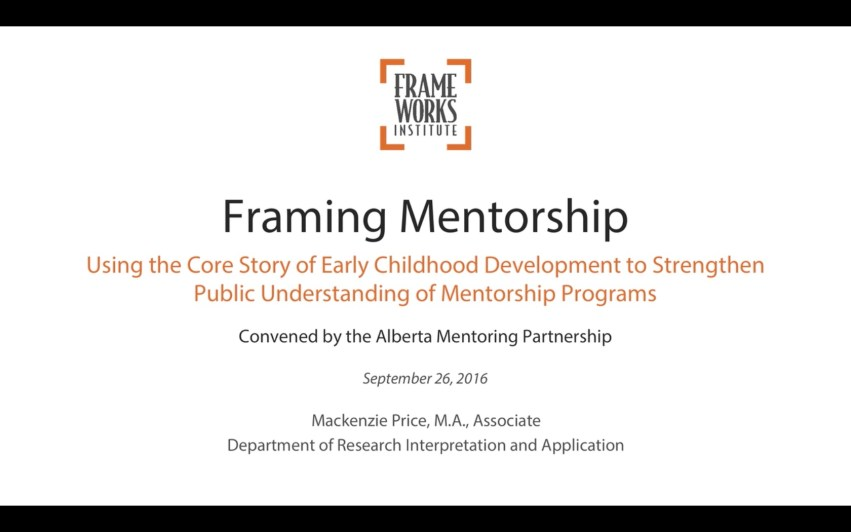 frameworks-webinar for the Alberta Mentoring Partnership