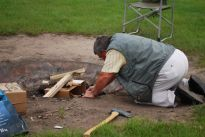 Gord works with wet wood