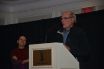The father-daughter team of Emerson Sanford and Janice Sanford Beck accepted a Heritage Awareness Award for Life of the Trails series of books.