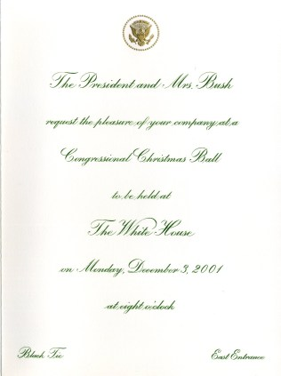 The text of Rep. Gordon's invitation to the 2001 Congressional Christmas Ball.