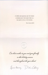The text of Vice President Cheney's holiday card