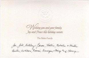 Biden family Holiday card text.