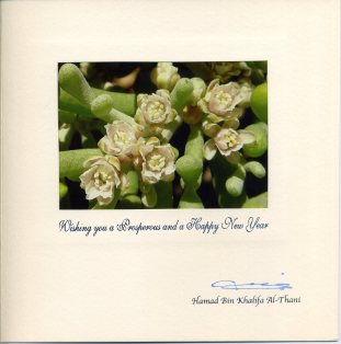 Holiday card from Qatar's Emir, Sheikh Hamad bin Khalifa Al Thani. The card wishes Rep. Gordon a happy New Year. The picture is of Zygophyllum Qatarense, a plant native to the deserts of Qatar,