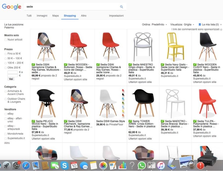 esempio di ricerca google sedie