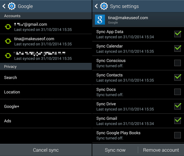 Google-Sync-Settings