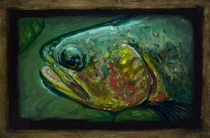 "Cutthroat Trout III, Lamar Valley, Yellowstone Park, 6"" x 8.75"", Oils on Plaster"