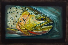 "Westslope Cutthroat Trout III, West Fork of Bitterroot River, Montana 6"" x 8.75"" Oils on Plaster Panel"