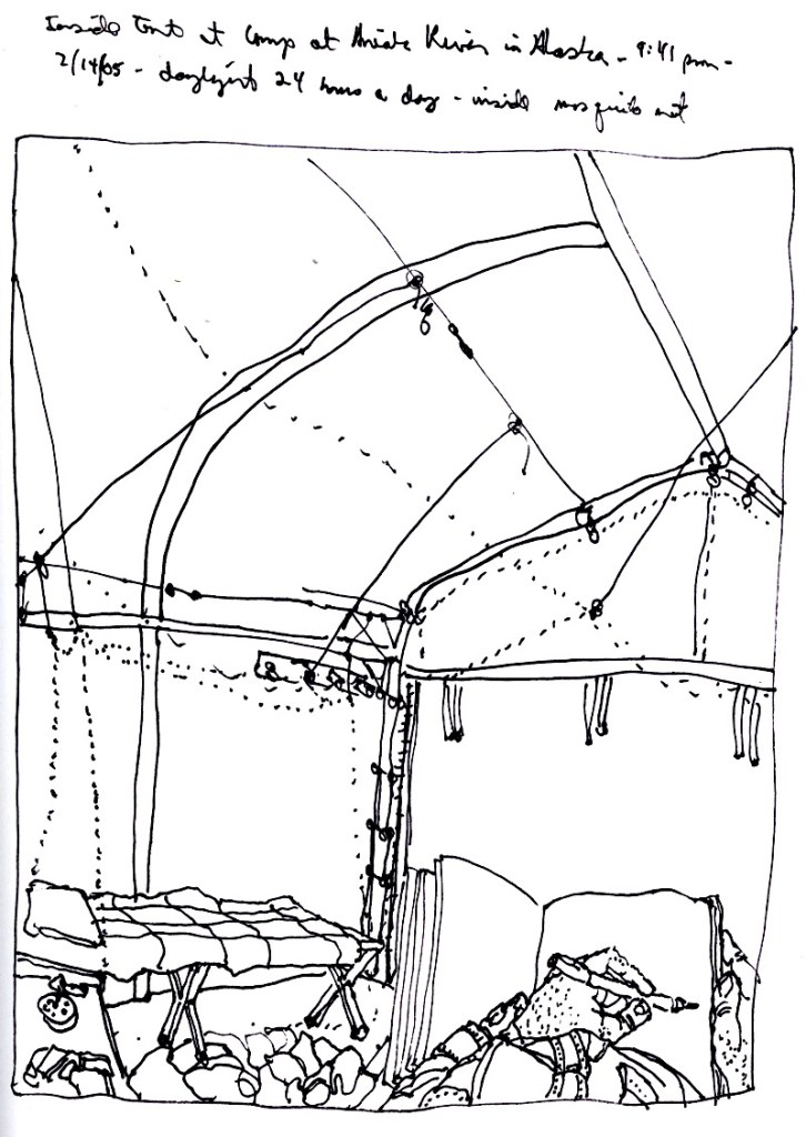 Sketchbook T 10 - Inside tent, Aniak, Alaska