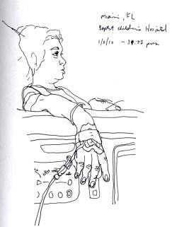 Sketchbooks T 25 - Diego Watching TV in Hospital - Miami, FL