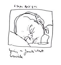 Sketchbooks K 52 - Graciela on Janeil's Chest - Hospital - Erie, PA