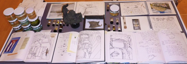 C.Table with travel journals, insects and water samples from around the world.