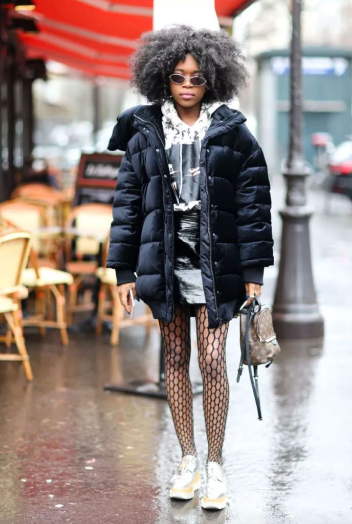 black puffer jacket outfits