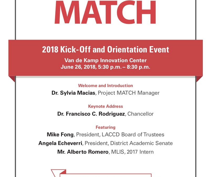 Project MATCH 2018 Internship Kick-Off, Tuesday, June 26, 2018