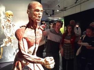 Robert Liberace geeft anatomie uitleg bij Body World. (Brugge, 2015)