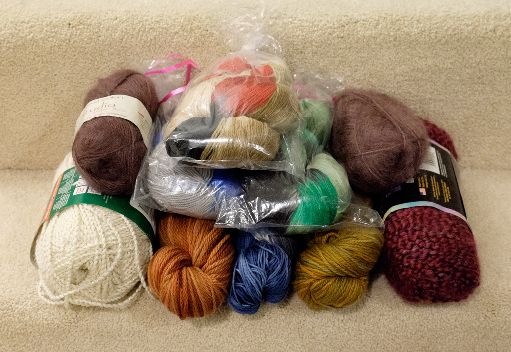 ten skeins of yarn