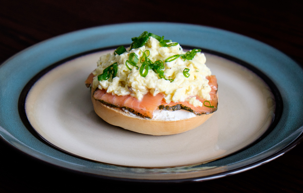 Salmon and Scrambled Egg Bagel