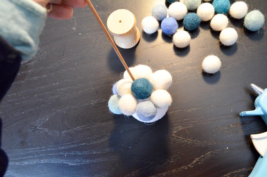 glue the felt balls