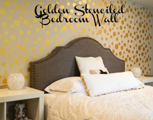 Golden Stenciled Bedroom Wall