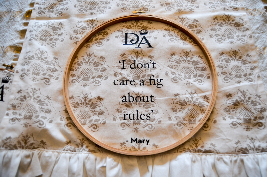 tea towel hoop art
