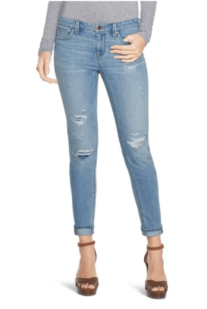 Saint Honore Distressed Girlfriend Jeans